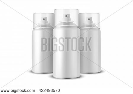 Three Vector 3d Realistic White Aluminum Blank Spray Can, Bottle, Transparent Lid Isolated. Small, M