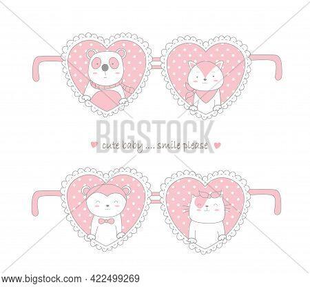 Valentine Day Design With Cute Animal Cartoon Hand Drawn Style