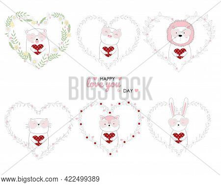 Hand Drawn Style Cute Animals Holding Red Heart