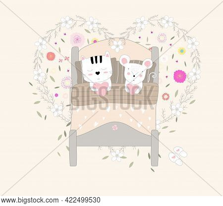 The Cute Baby Cat And Rat Animal Cartoon Hand Drawn Style
