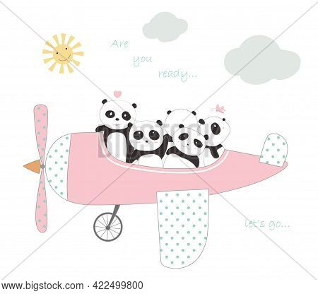 The Cute Panda Baby With The Plane To Travel On Holiday. Cartoon Sketch Animal Style