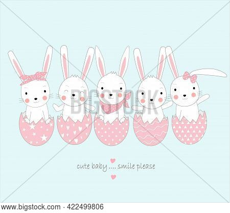 The Cute Rabbit Baby With Egg. Cartoon Sketch Animal Style