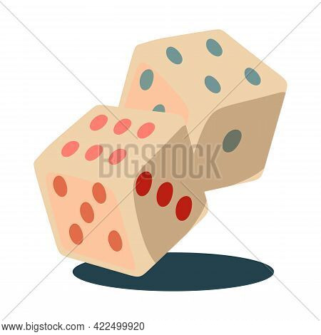 Vector Illustration Of Cute Dice Box Vector. Rolling Double Dice Box.