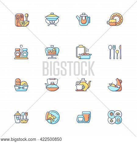 Trendy Tableware Rgb Color Icons Set. Isolated Vector Illustrations. Irregular Shape Tableware. Vint