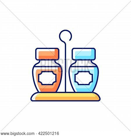 Condiments Set Rgb Color Icon. Isolated Vector Illustration. Matched Group Of Containers. Kitchen Pl