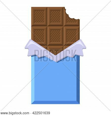 Bited Milk Chocolate In Opened Wrapper And Foil. Flat Style Cacao Candy For Logo, Menu, Emblem, Temp