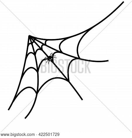 Spider Web With A Spider. Silhouette. Isolated On White Background.