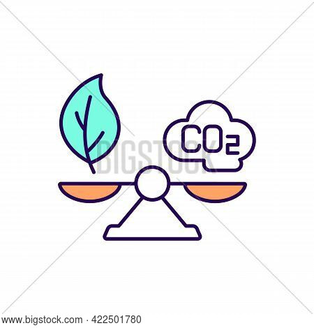 Stabilizing Atmospheric Carbon Dioxide Rgb Color Icon. Neutralizing Carbon Emissions. Isolated Vecto