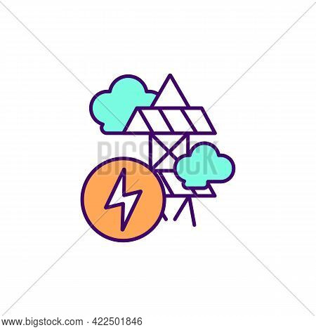 Electricity Production Rgb Color Icon. Generating Greenhouse Gas Emissions. Isolated Vector Illustra