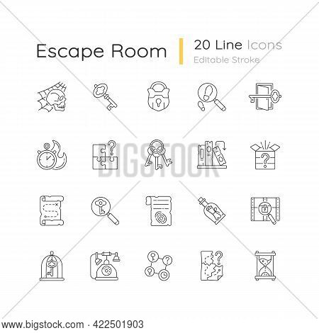 Escape Room Linear Icons Set. Challenge For Logic Skills. Solving Puzzles, Clues For Riddles. Myster