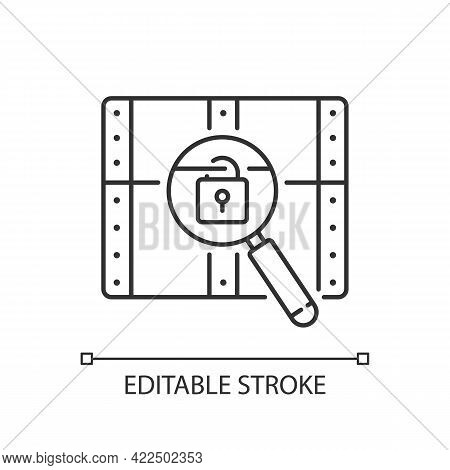 Chest With Lock Linear Icon. Search For Pirate Treasure. Open Casket. Solving Puzzles. Thin Line Cus