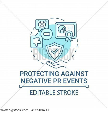 Protecting Against Negative Pr Events Concept Icon. Strong Brand Abstract Idea Thin Line Illustratio