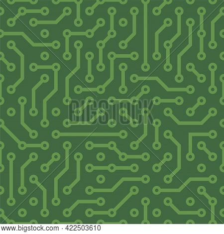 Circuit Board Green Seamless Pattern Background. Vector