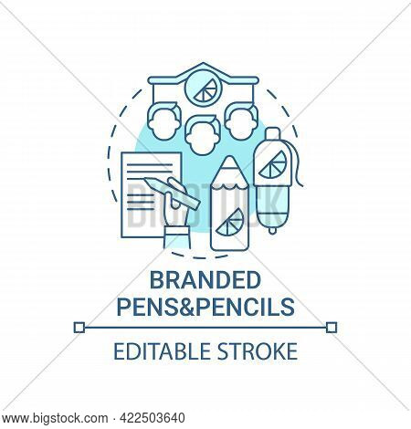 Branded Pens And Pencils Concept Icon. Corporate Branding Abstract Idea Thin Line Illustration. Bran
