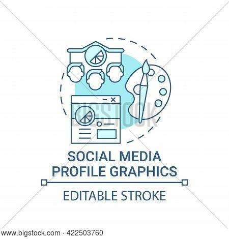 Social Media Profile Graphics Concept Icon. Business Branding Service Abstract Idea Thin Line Illust