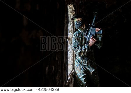 Soldier Training While Playing Paintball In The Fortress