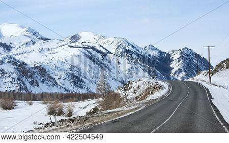 View Of Altay Mountains In The Winter, Siberia, Russia