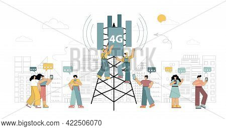 4g Technologies. New Generation Mobile Networks. Workers On The Tower Are Installing High-speed Mobi