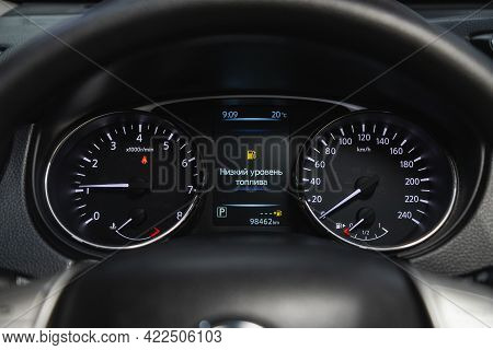 Novosibirsk, Russia - May 29, 2021: Nissan X-trail, Close Up Instrument Automobile Panel With Odomet