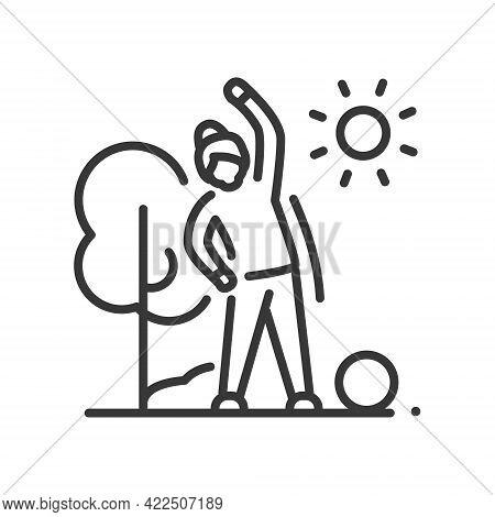 Senior Woman Doing Exercises - Line Design Single Isolated Icon