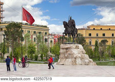 Tirana, Albania - April 24 2019: The Skanderbeg Monument Is A Monument In The Skanderbeg Square Comm