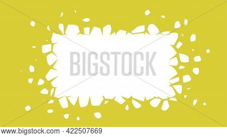 A White Rectangle With Flying Fragments. Exploding Design Element With Space For Text, Vector Illust