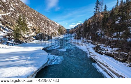 View Of River In Altay Mountains In The Winter, Siberia, Russia