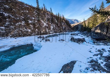 View Of A River In Altay Mountains In The Winter, Siberia, Russia