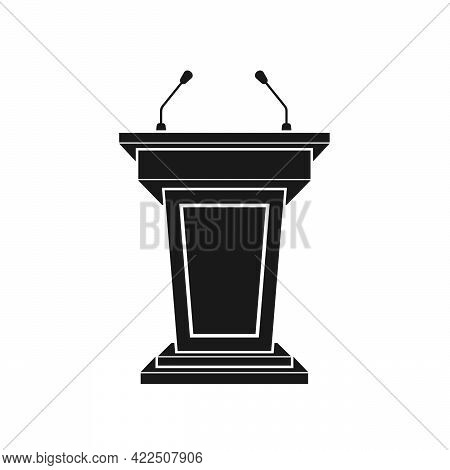 Black Tribune Icon Stand Rostrum With Microphones On White Background. Podium Or Pedestal Stand For