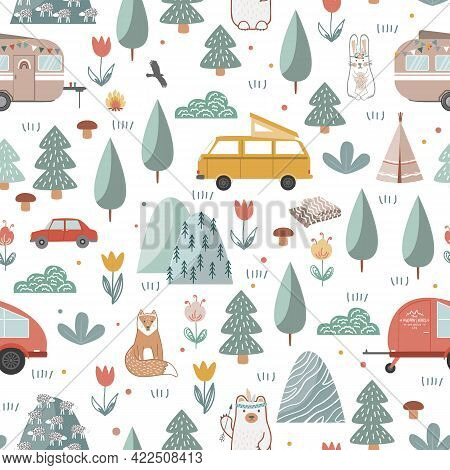 Hand Drawn Seamless Pattern With Summer Camping Equipment. Trailers, Mountains, Trees, And Animals I