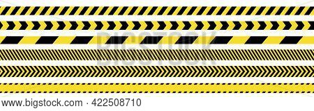Seamless Barricade Tapes. Tileable Police Lines. Do Not Cross Warning Symbols. Repeatable Barrier Li