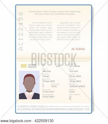 Biometric Vaccine Passport. Contemporary Passports Will Be Provided With An Information On Vaccinati