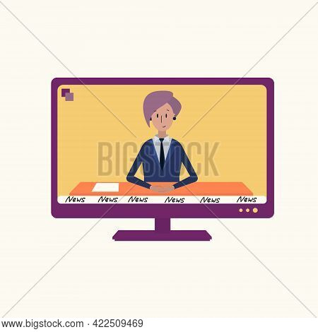 The Tv Shows The News. Vector Illustration Of A News Anchor With Pink Hair Sitting At A Table And Le