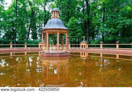 Menagerie (avian) Pond In Old City Park Summer Garden In St. Petersburg, Russia