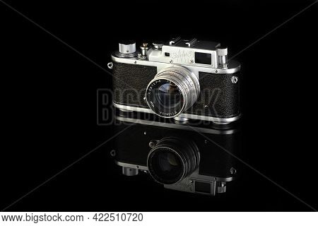 Moscow, Russia, May 31, 2021. The Rare Old Soviet Rangefinder Camera Zorki 3m, Released 1955 On Blac