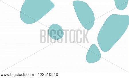 Smooth Rounded Spots Of Green Color On A White Background, Vector Illustration.
