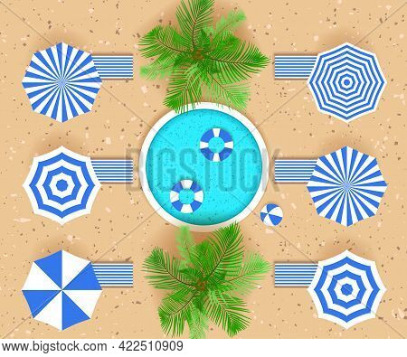 Round Swimming Pool, Palm Trees, Life Buoys, Beach Chairs And Ball. Top View. Summertime Concept