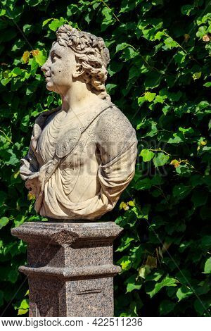 Symbolic Marble Bust May In Catherine Park At Tsarskoye Selo In Pushkin, Russia