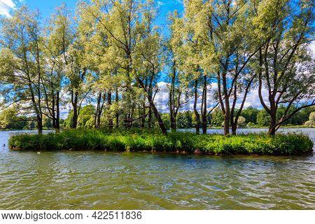 Big Pond In Catherine Park At Tsarskoye Selo In Pushkin, Russia