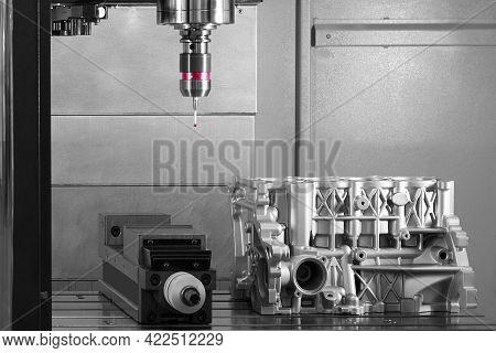 The Coordinate Measuring Cmm Machine.  Repair Motor Block Of Cylinders, Operator Inspection Dimensio