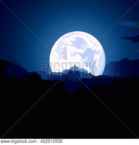 Illustration In Blue Night Colors Depicting The Moon Above The Horizon And The Silhouette Of A Fortr