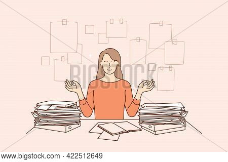 Harmony, Peace, Successful Time Management Concept. Young Business Woman Cartoon Character Sitting M