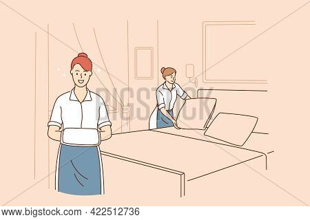 Cleaning Service And Housewife Concept. Young Smiling Women Cartoon Characters Working As Housemaid