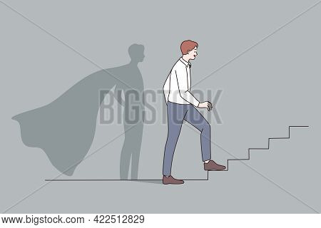 Success, Opportunities, Leadership Concept. Young Businessman Standing On Ladder Forward And Looking
