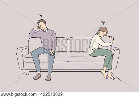 Problems In Communication And Fight Concept. Sad Unhappy Husband And Wife Cartoon Characters Sitting