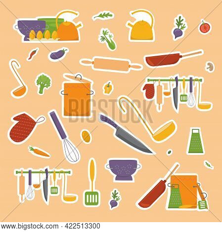 Sticker Pack Kitchen Tools And Vegetables For Cooking Food. Print For Recipe Book. Vector Illustrati