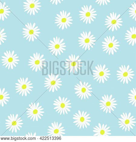 Seamless Floral Pattern With Chamomile Flowers On Blue Background.