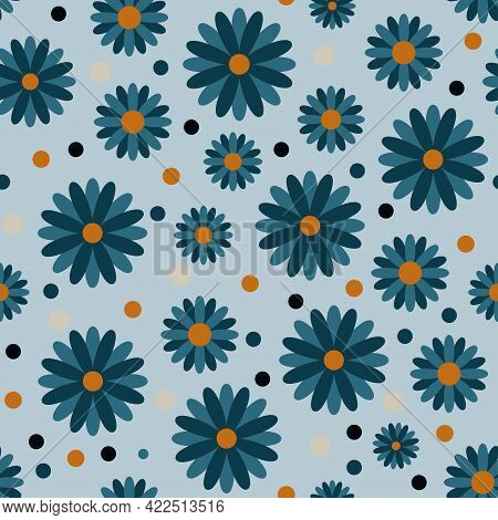 Seamless Floral Pattern With Chamomile Flowers On Blue Background
