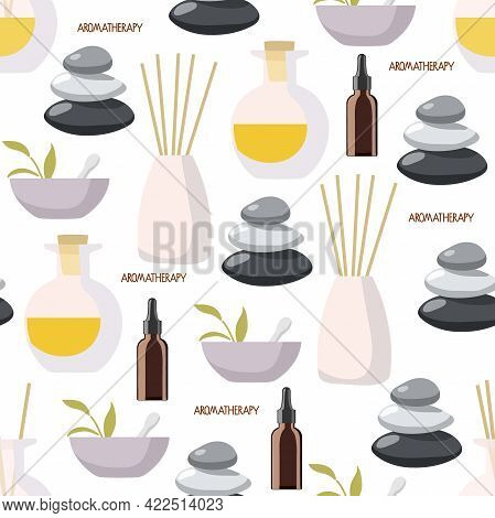 Aromatherapy Seamless Pattern. Aroma Diffuser, Essential Oil In Bowl, Lavender Herbs, Balance Stones