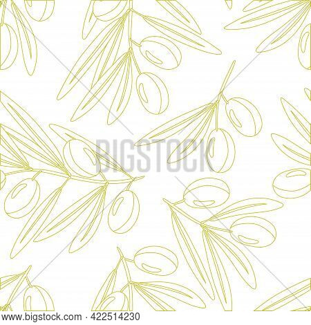 Seamless Pattern With Linear Olives Branch And Leaves. Berry On Branch. Illustration With Olive Frui